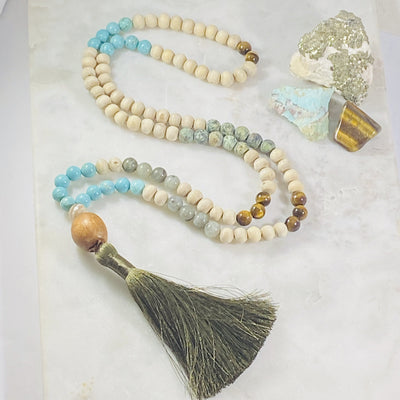 Handmade mala with healing crystal energy