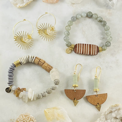Handmade jewelry by Sarah Belle with crystal energy