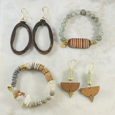 Handmade jewelry by Sarah Belle with a modern, eclectic vibe