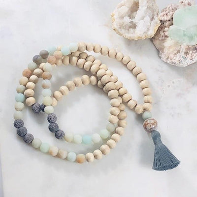 Balance Tulsi Mala with Healing Crystal Energy for Grounding and Earth Chakra