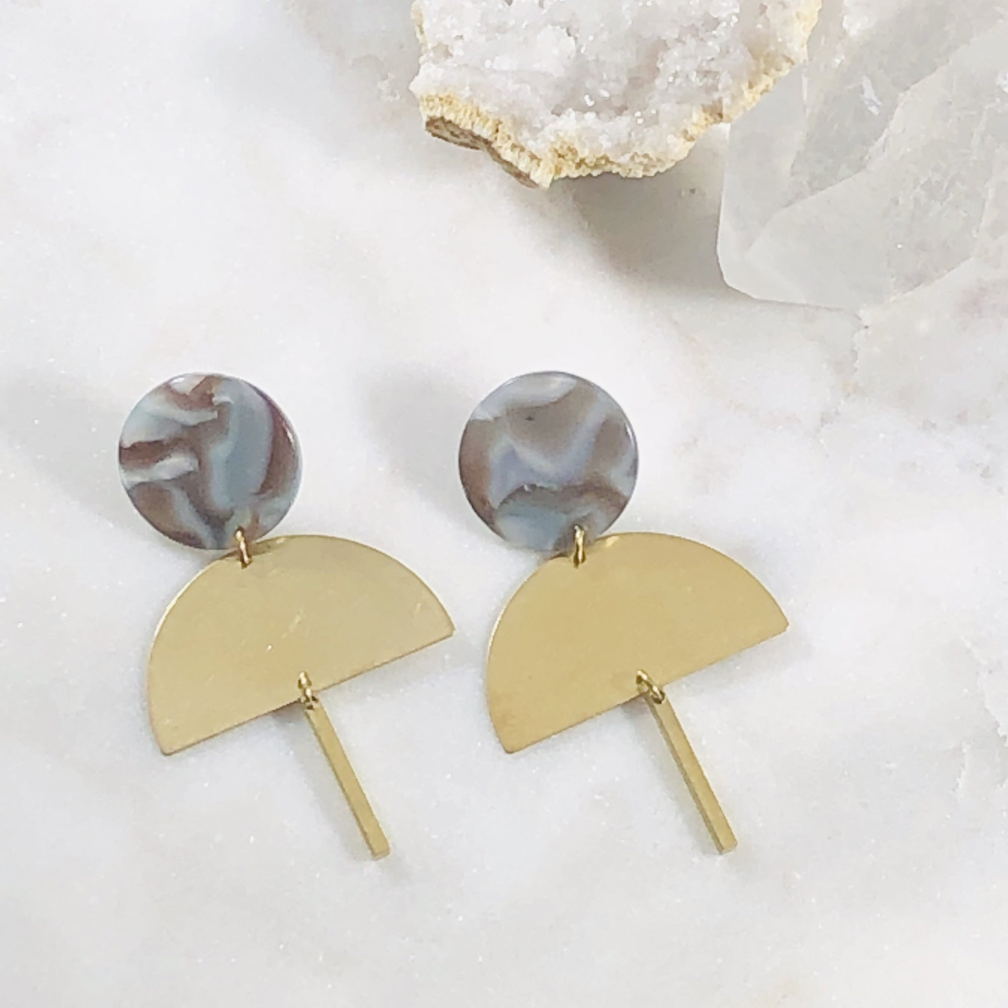 Handmade geometric brass and lucite  earrings for modern minimalist style