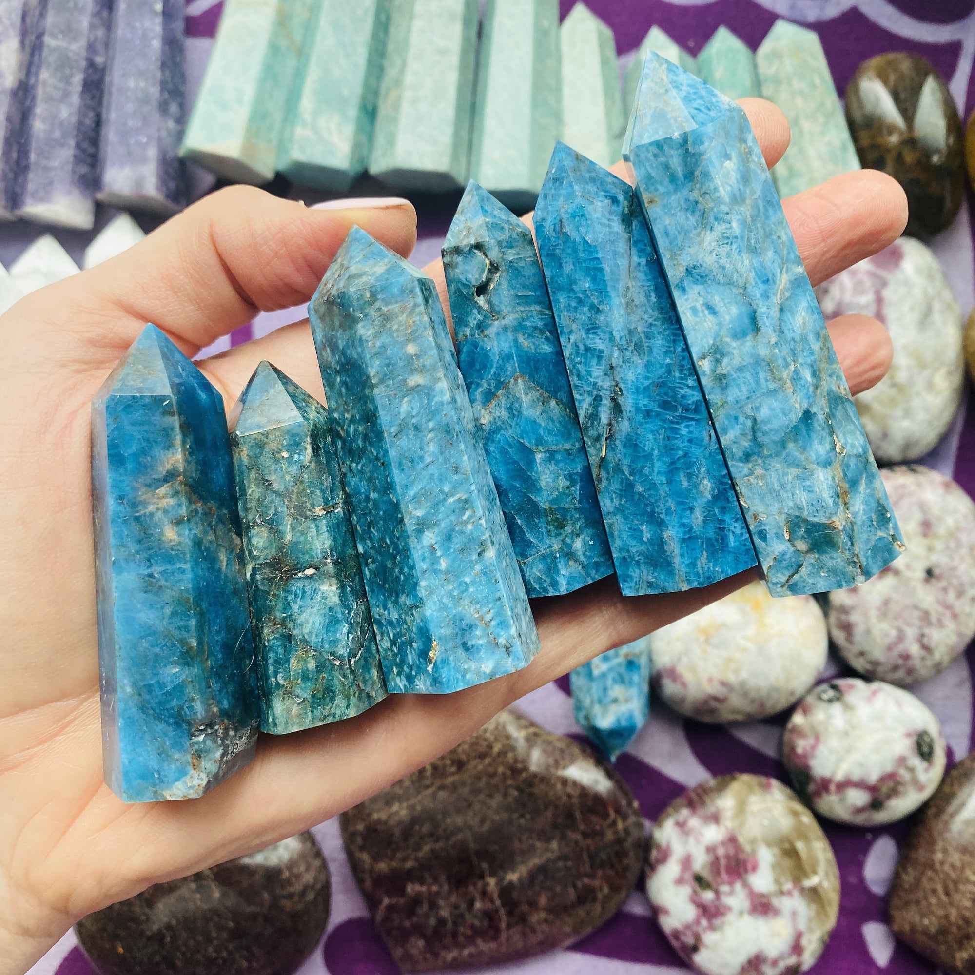Blue apatite point for psychic abilities by sarah belle