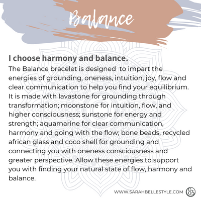 Balance bracelet description card