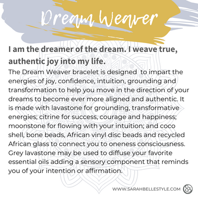 Dream weaver bracelet description card