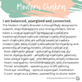 Modern chakra bracelet for balance, energy and connection.