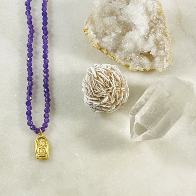 Buddha Amethyst Necklace Intuitive Crystal Jewelry for Healing and Insight