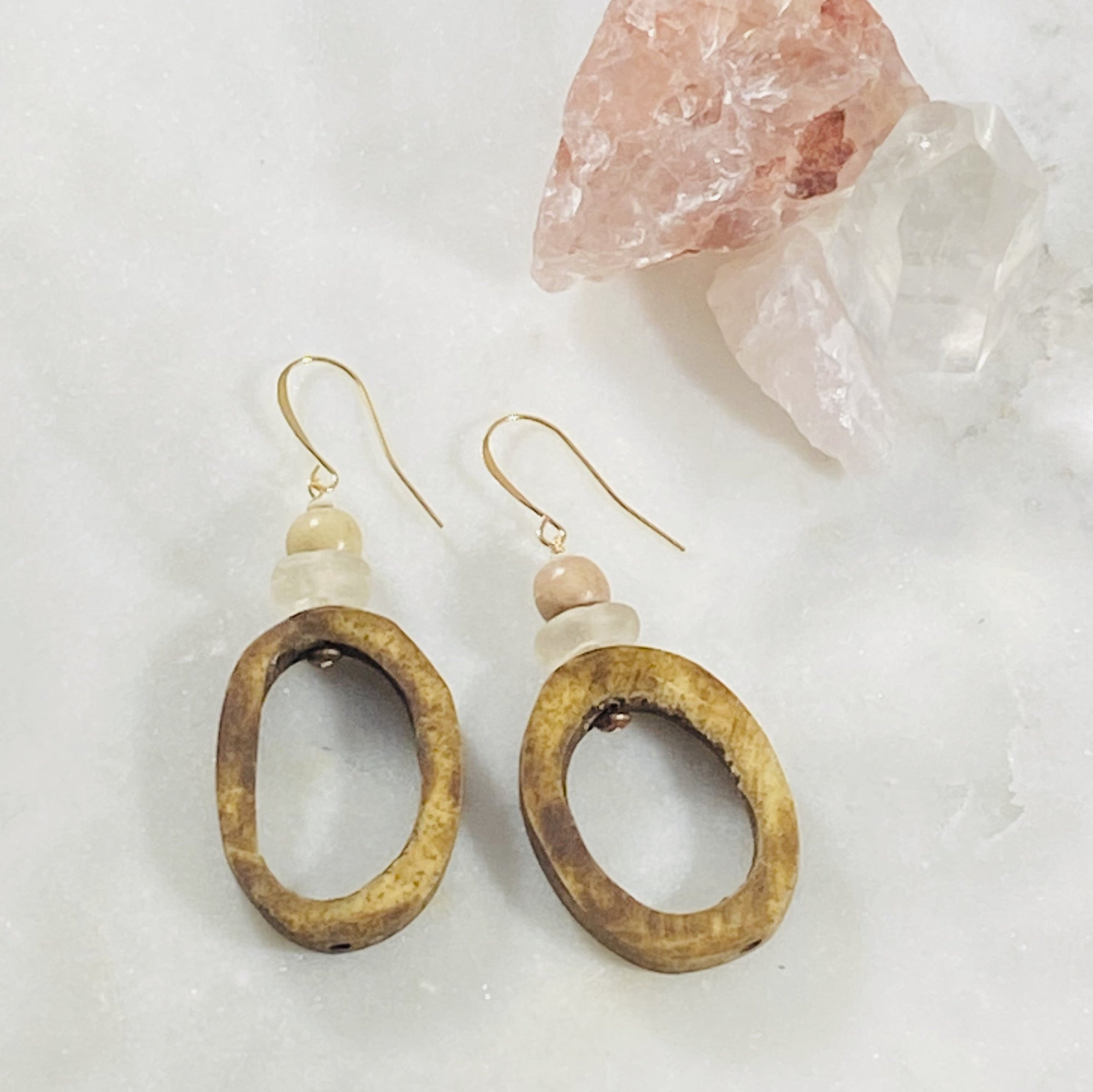 Handmade Sarah Belle Camille Boho Earrings with bone and recycled glass