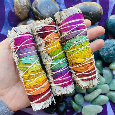 chakra rose white sage smudge stick for cleansing