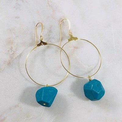 Cora Turquoise Hoop Earrings Handmade Boho Jewelry