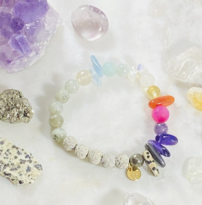Handmade healing crystal bracelet, intuitively created