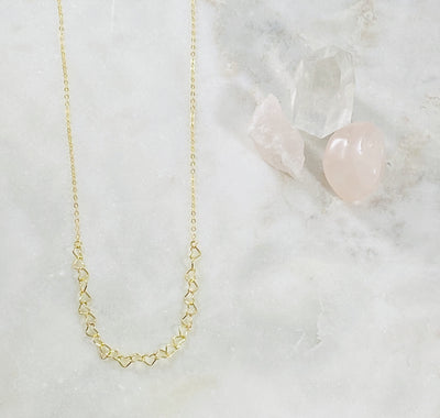 handmade gold filled heart choker layering necklace