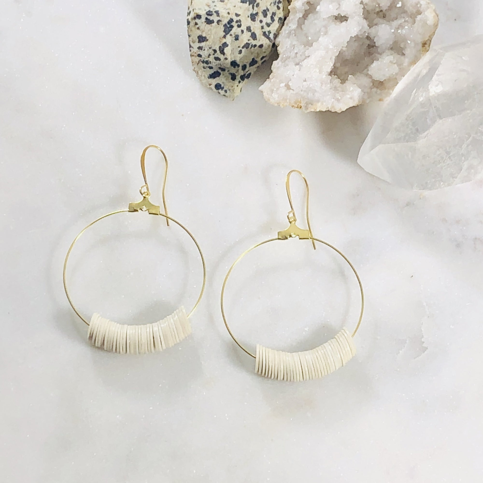 Handmade cream dottie hoop earrings by Sarah Belle