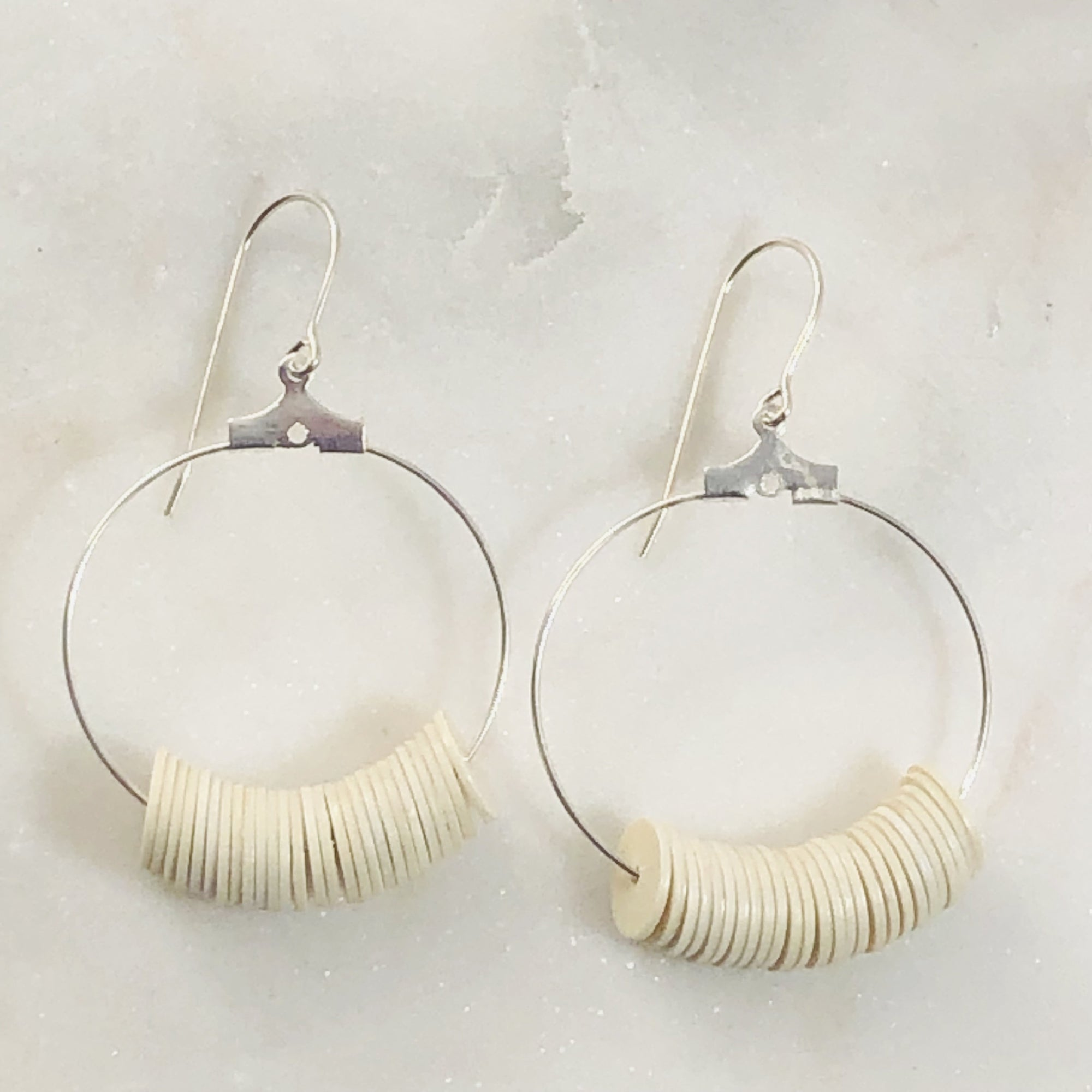 Dottie Cream Hoop Earrings Silver