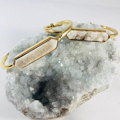 Zeta Druzy Agate Bangle Bracelet Healing Crystal Jewelry for a Positive Vibe