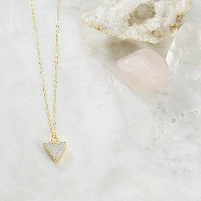 Handmade druzy agate triangle necklace by Sarah Belle