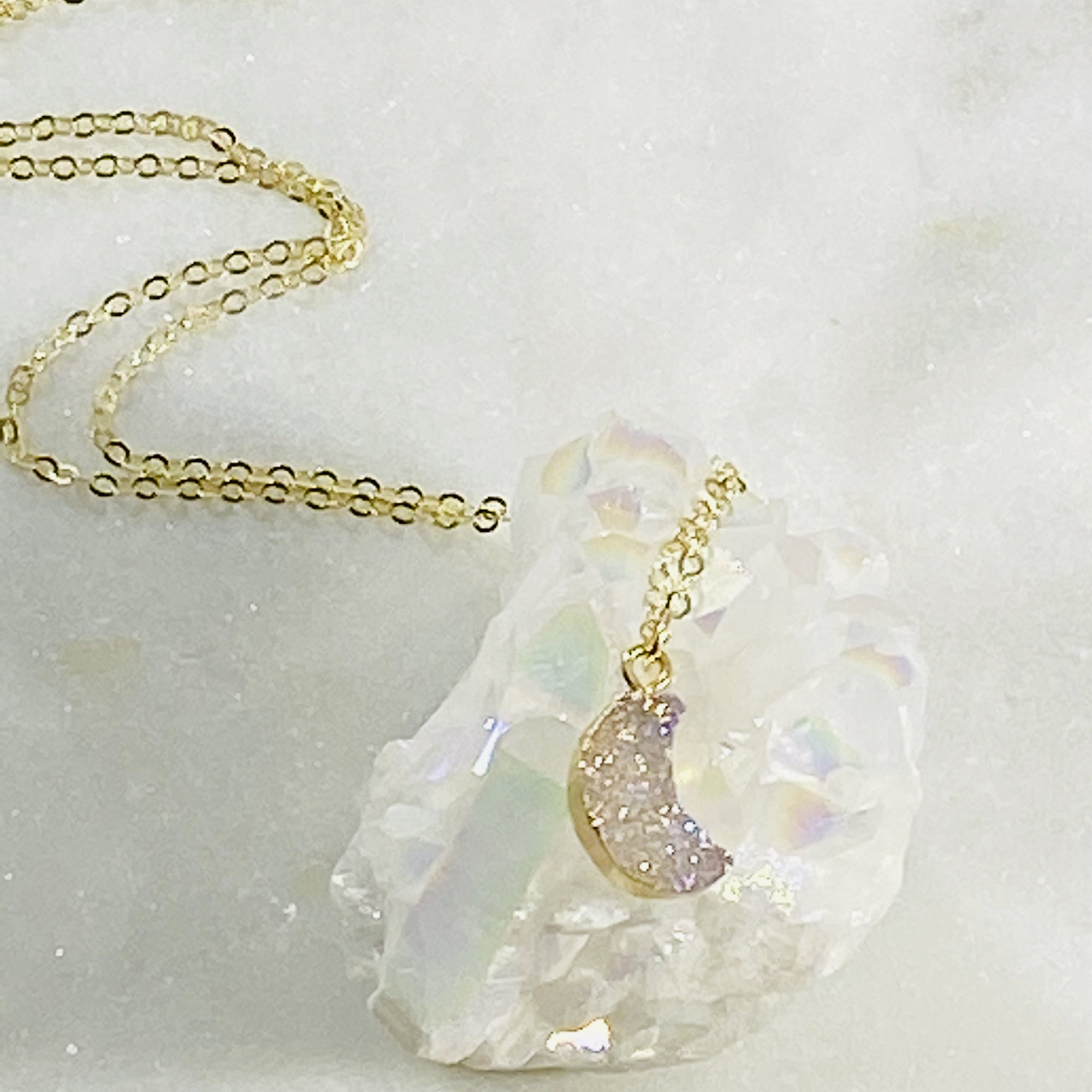 Druzy Moon Charm Necklace Gold