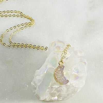 Handcrafted druzy moon charm necklace for moonlovers