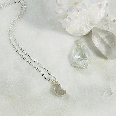 Handcrafted sterling silver druzy moon necklace for moonlovers