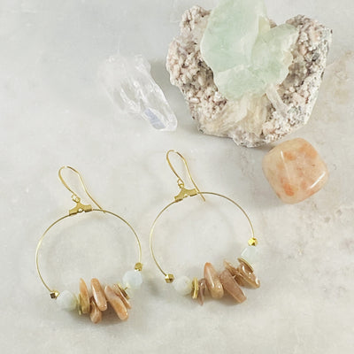 Ezra earrings by Sarah Belle with aquamarine and sunstone