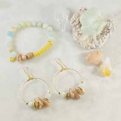 Handmade Ezra Earrings and Uplifting Bracelet by Sarah Belle