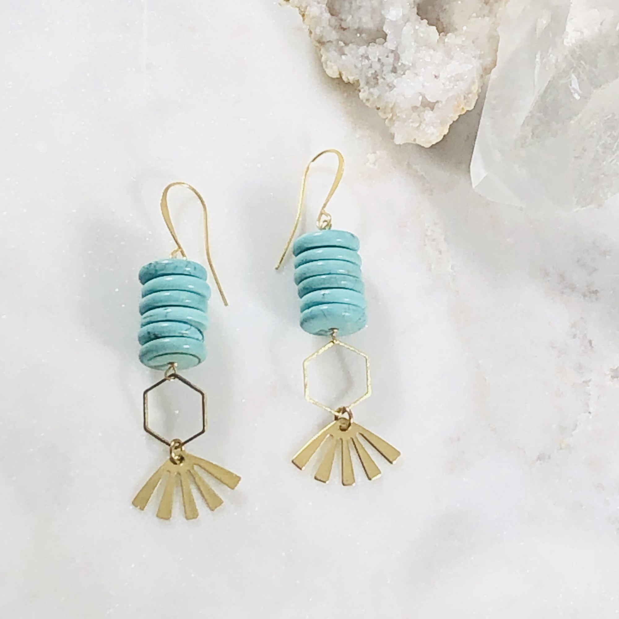 Handmade modern statement earrings with turquoise howlite crystal healing vibes
