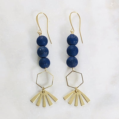 Handmade earrings with a modern style and crystal energy infused