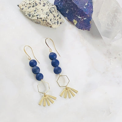 Handmade jewelry crystal earrings with lapis lazuli for the conscious woman