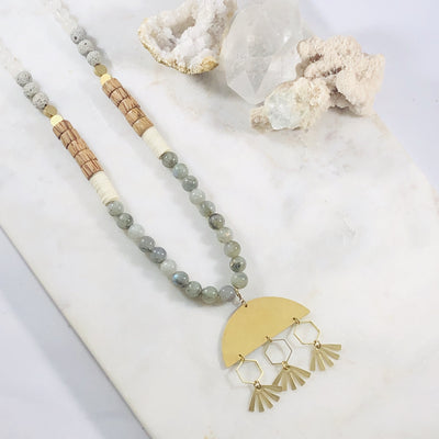 Handmade healing crystal jewelry. This versatile boho necklace offers two ways to wear it.