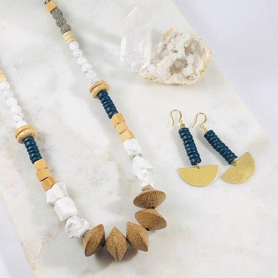 Felix Navy Coco Shell Earrings Handmade for a Modern, Minimalist Vibe