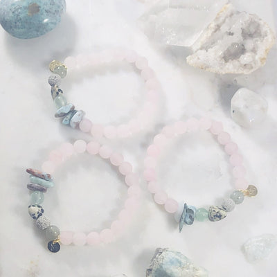 Follow Your Heart Stacking Bracelet (Diffuser) for Balancing Heart Chakra and Inspiring Joy