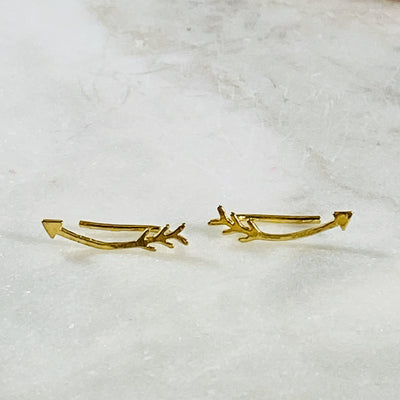 gold filled arrow ear climber earrings