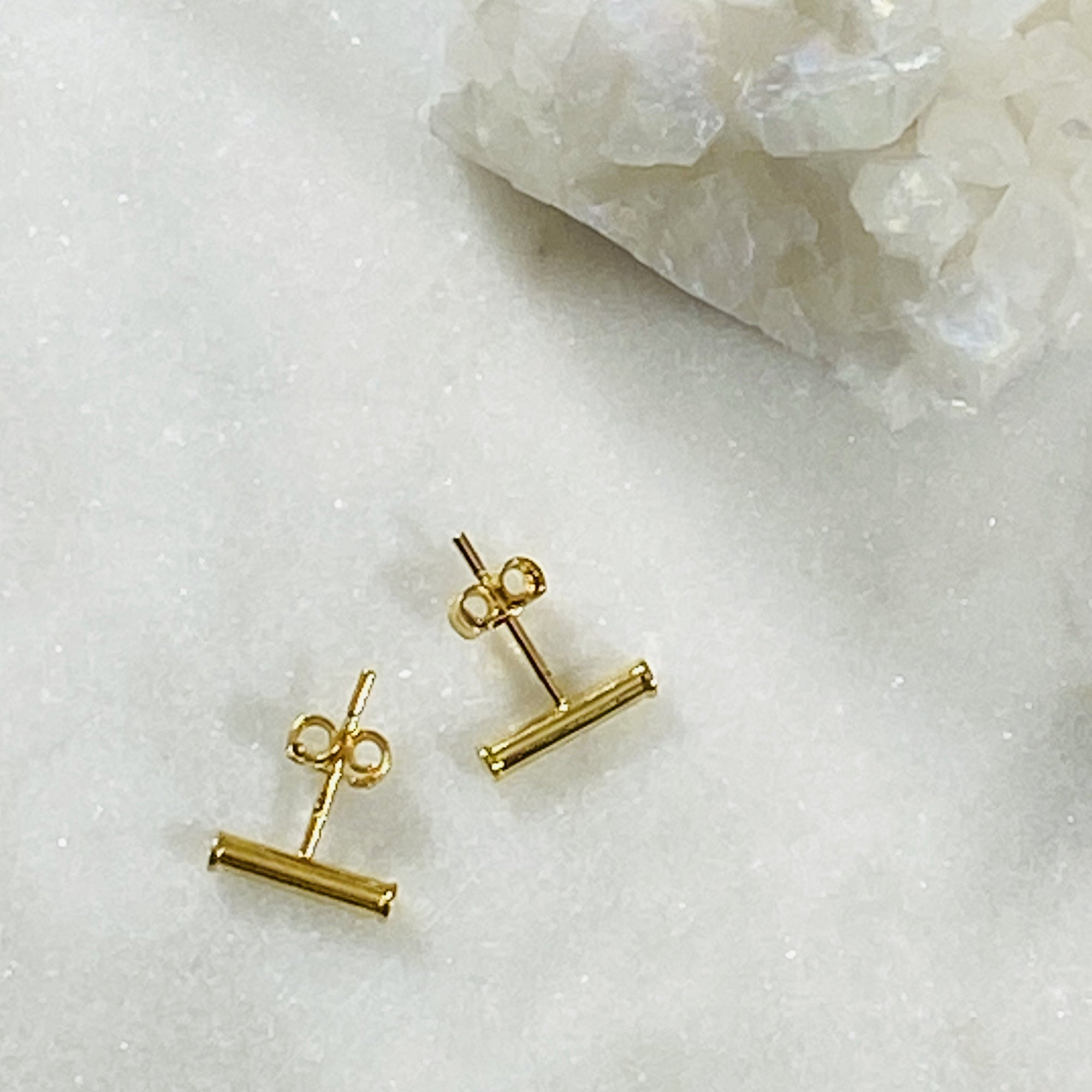 gold filled bar stud earrings