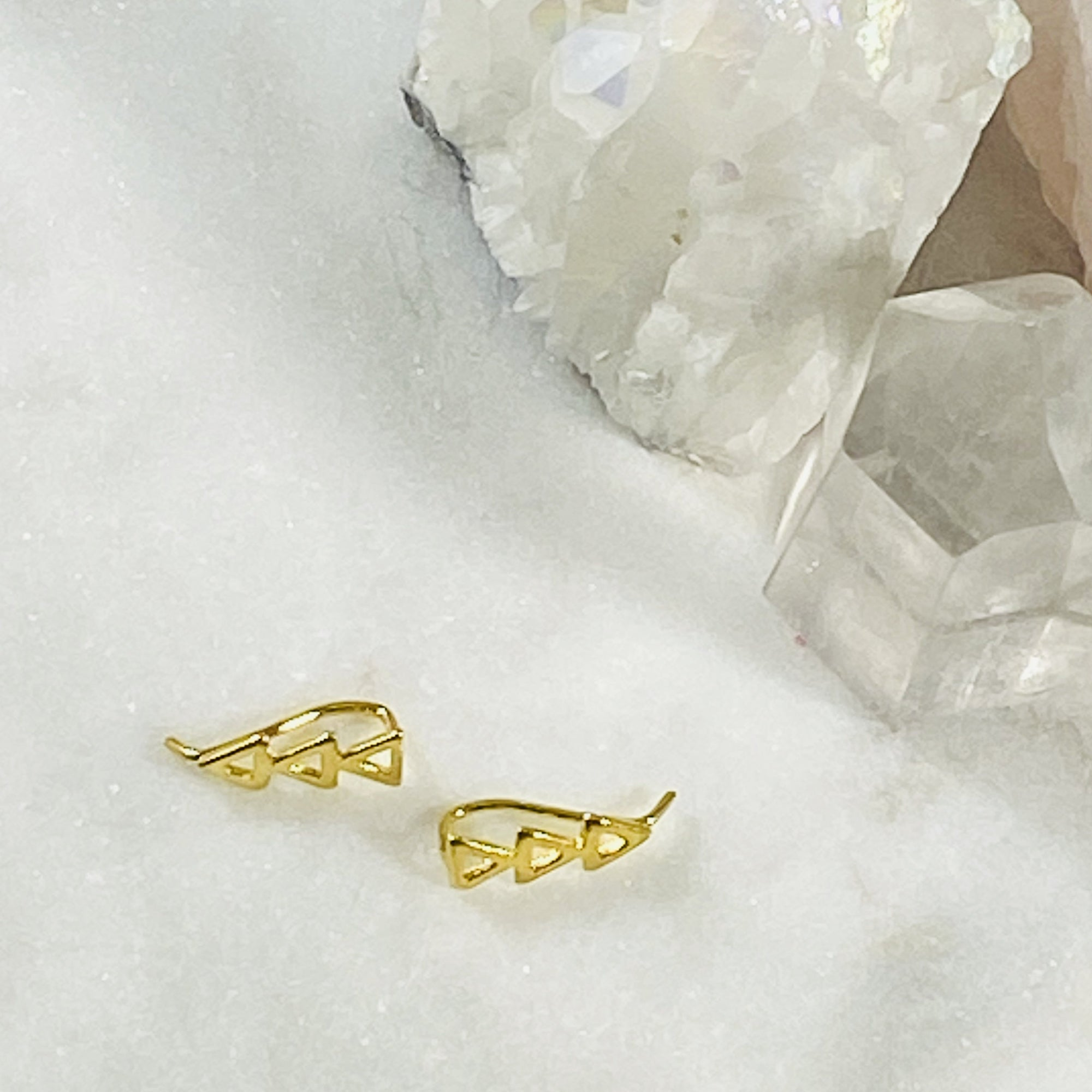 gold filled triangle ear climber earrings
