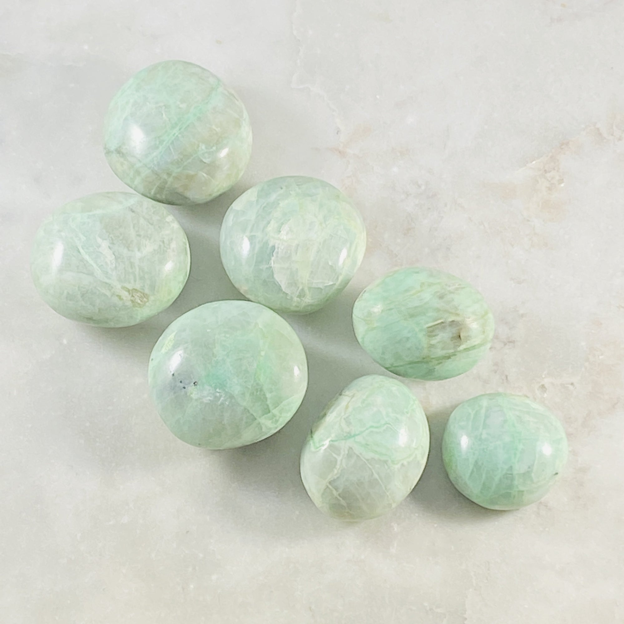 Green Moonstone Palm Stone Small