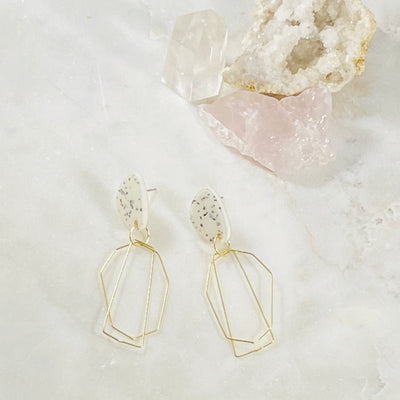 Handmade modern jewelry - lucite and gold wire earrings by Sarah Belle