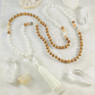 Higher Consciousness Mala made with crystals and sandalwood