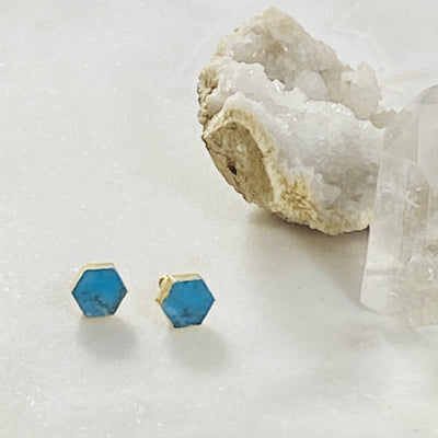 howlite hexagon stud earrings