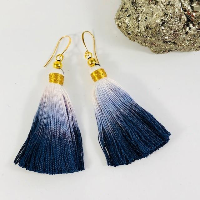 Tassel Earrings Navy and White Ombre