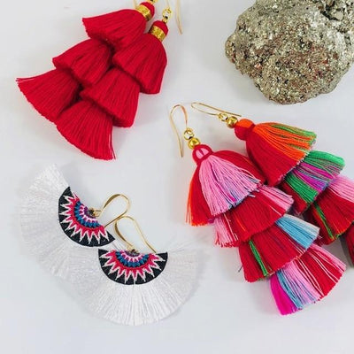 Fan Tassel Earrings White Handmade Statement Jewelry