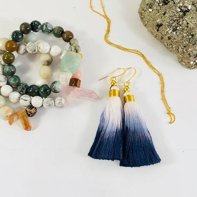 Tassel Earrings Navy and White Ombre for a Modern, Boho Style