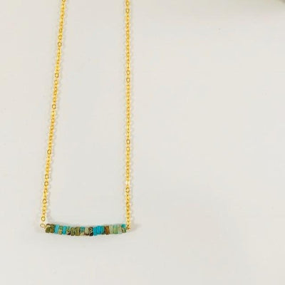African Turquoise Bar Necklace Healing Crystal Jewelry for Ancient Wisdom