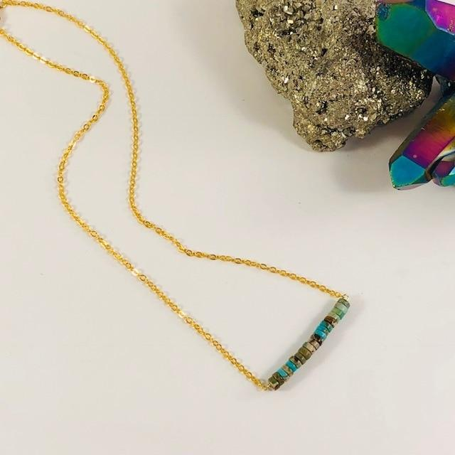 African Turquoise Bar Necklace