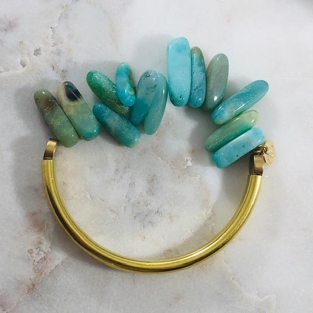 Barrett Brass Bar Bracelet Amazonite