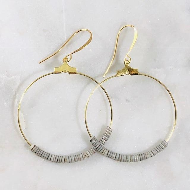 Dottie Grey Sea Shell Hoop Earrings