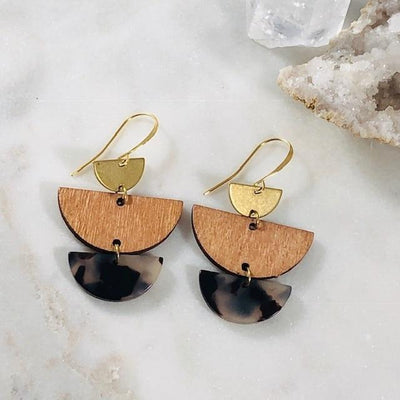 Mod Trio Brass, Wood, Tortoise Earrings