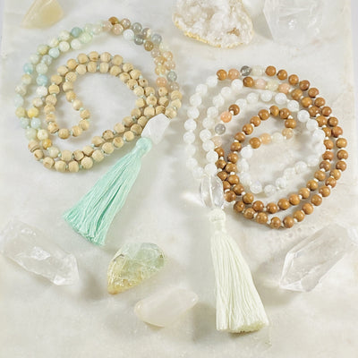 Handmade malas for meditation by Sarah Belle