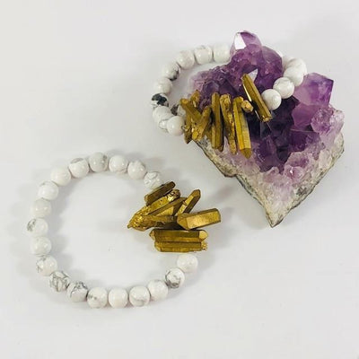 Peace White Howlite Stacking Bracelet with Quartz