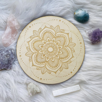 Mandala birch wood crystal grid