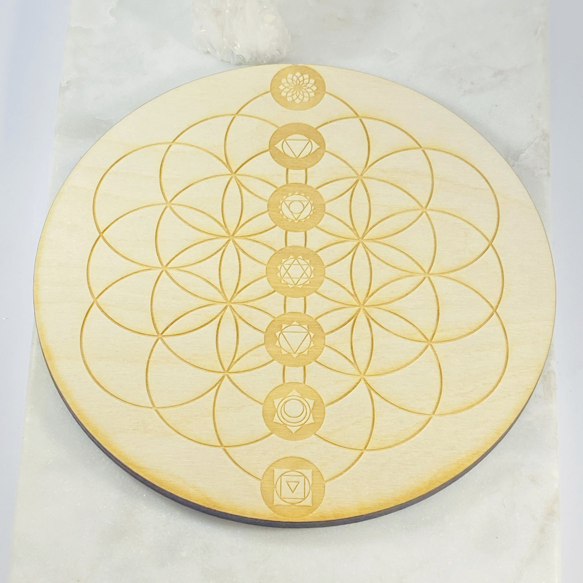 Chakra Flower of Life Wood Grid