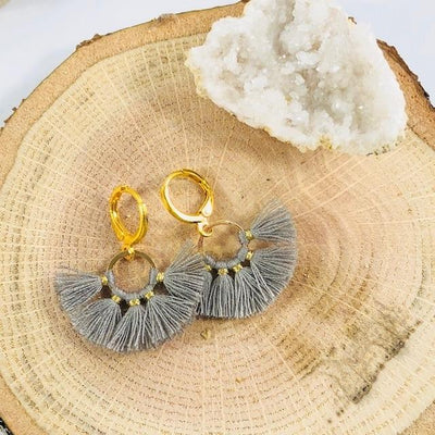 Mini Tassel Earrings Grey